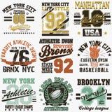 Ensemble de T-shirt de New York Image stock