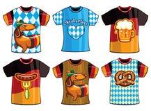 Ensemble de T-shirts d'Oktoberfest de calibres pour les hommes et la femme illustration libre de droits