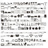 Ensemble de Tableaux d'éléments de ménage de 2 centaines, de lits, de vaisselle de cuisine, etc. silhouettes Beau vecteur Photos stock