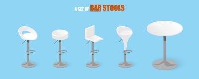 Ensemble de tabourets de bar et de table illustration stock