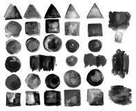 Ensemble de taches d'aquarelle dans le gris encrassé Image stock