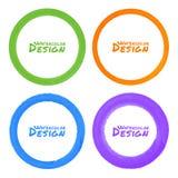 Ensemble de taches grunges colorées de cercle d'aquarelle Photos stock
