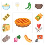 Ensemble de tarte, graines, hot-dog, radis, biscuits, boucher, Taco, pierre à aiguiser illustration libre de droits