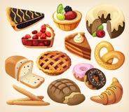 Ensemble de tartes et de produits de farine Images libres de droits