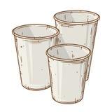 Ensemble de tasse de café de papier au-dessus du fond blanc Tasse de café de bande dessinée Images stock