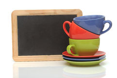 Ensemble de tasses colorées Photo stock