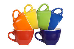 Ensemble de tasses colorées. photographie stock libre de droits