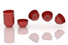 Ensemble de tasses colorées de porcelaine Image libre de droits