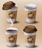 Ensemble de tasses de papier Position différente Vecteur Images stock