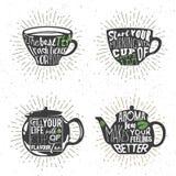 Ensemble de tasses de thé et de silhouette de bouilloires avec l'expression manuscrite Illustration de vecteur Photographie stock