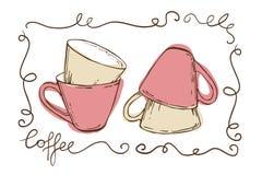 Ensemble de tasses vides de vintage pour le thé décoré des gribouillis Photos stock