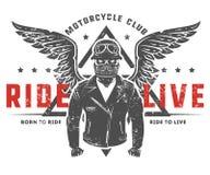 Ensemble de tatouage et de copie de style de vintage de motard de moto pour le T-shirt Photographie stock