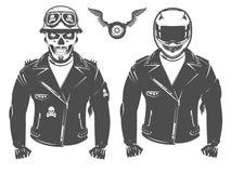 Ensemble de tatouage et de copie de style de vintage de motard de moto pour le T-shirt Photos libres de droits
