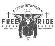 Ensemble de tatouage et de copie de style de vintage de motard de moto pour le T-shirt Image libre de droits