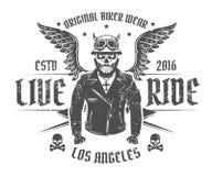 Ensemble de tatouage et de copie de style de vintage de motard de moto pour le T-shirt Image stock