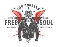 Ensemble de tatouage et de copie de style de vintage de motard de moto pour le T-shirt Photo stock