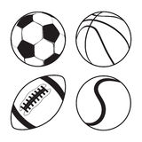 Ensemble de tennis de football américain de basket-ball du football de boules de sports Images stock