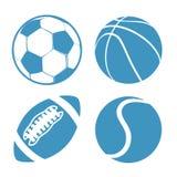 Ensemble de tennis de football américain de basket-ball du football de boules de sports Photographie stock