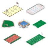Ensemble de terrains de jeu dans isométrique, illustration de vecteur Photo stock