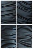 Ensemble de texture en cuir noire chiffonnée Photo stock
