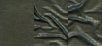 Ensemble de texture noire de cuir de crocodile Images stock