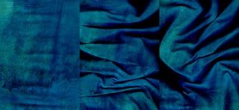 Ensemble de textures bleu vert de cuir de suède Photos stock