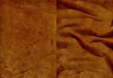 Ensemble de textures brunes de cuir de velours Photographie stock libre de droits