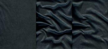 Ensemble de textures en cuir bleu-foncé Photos stock