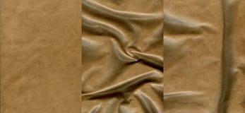 Ensemble de textures en cuir brun clair Image libre de droits