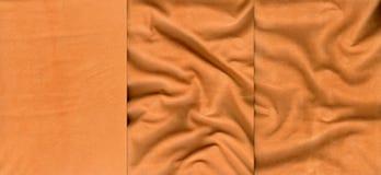 Ensemble de textures oranges de cuir de suède Images libres de droits