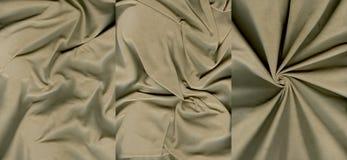 Ensemble de textures oranges grisâtres fripées de cuir de suède Image stock