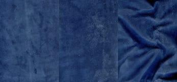 Ensemble de textures très bleu-foncé de cuir de suède Image stock