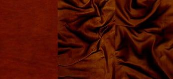 Ensemble de textures très rouge foncé de cuir de suède Photographie stock libre de droits