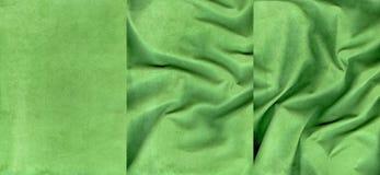 Ensemble de textures vert-foncé de cuir de suède Photographie stock