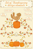 Ensemble de thanksgiving d'éléments de conception Image stock