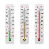 Ensemble de thermomètre d'isolement sur le blanc Photographie stock libre de droits