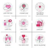 Ensemble de timbre d'icône d'amour de Valentine Day Gift Card Holiday Photographie stock