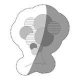ensemble de timbre de découpe d'icône abstraite d'arbre Photographie stock