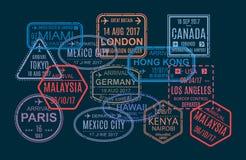 Ensemble de timbre, impression, marques dans le passeport étranger pour le voyage illustration stock
