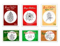 Ensemble de timbres de courrier de beaux articles de Joyeux Noël illustration stock