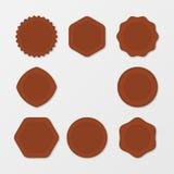 Ensemble de timbres de Brown Texture affligée de timbre Collection de timbre de courrier Dirigez les estampilles Timbres de cercl Photo libre de droits