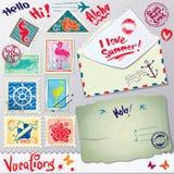 Ensemble de timbres de courrier de vintage, carte postale Images libres de droits