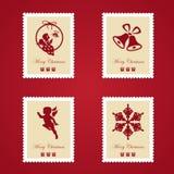 Ensemble de timbres-poste colorés de Noël Photo libre de droits