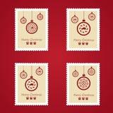 Ensemble de timbres-poste colorés de Noël Photos libres de droits