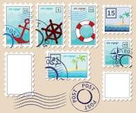 Ensemble de timbres sur le thème de la mer Images libres de droits