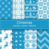 Ensemble de tissu sans couture Huit toiles L'occasion Joyeux Noël et bonne année pixel Images libres de droits