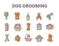 Ensemble de toilettage de chien icônes de schéma avec le signe du chien, os, tondeuse, peigne Équipement animal élégant pour votr illustration libre de droits