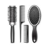Ensemble de toilettage et de brosse de cheveux radiale de bordage chaude Photos stock