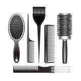 Ensemble de toiletter et de courber la brosse de cheveux radiale Images libres de droits