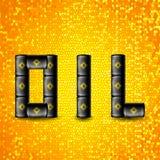 Ensemble de tonneaux à huile noirs en métal Image libre de droits